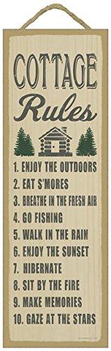 SJT ENTERPRISES, INC. Cottage Rules (Cottage & Tree Image) Primitive Wood Plaque - 5 x 15 inch Size (SJT02614)