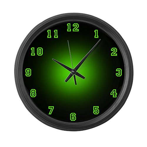 CafePress - Large Green Neon Face Wall Clock - Large 17