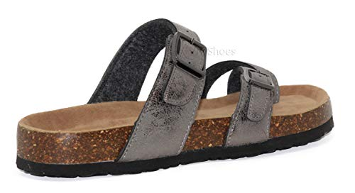 SlidelFlipFlop Pewter Strappy Women's Shoes Open Toe Flat MVE SandalslComfort Summer Cork b30 SvzqF