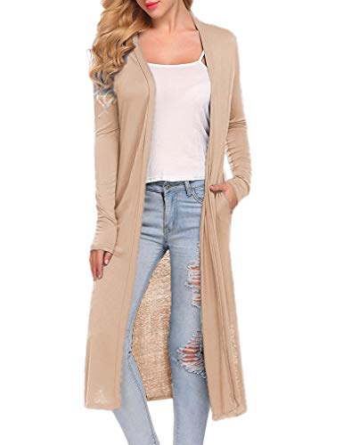 Locryz Long Cardigans for Women Plus Size Lightweight Pockets(XXL,Nude) -