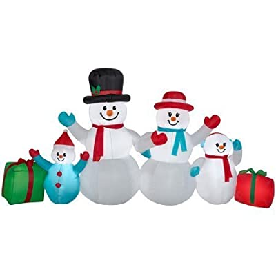 Holiday Time Christmas Snowman Family Inflatable Airblown Yard Display 9 ft Wide