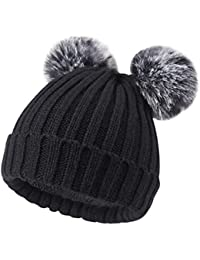 ONWAY Winter Kintted Slouch Beanie Hat with Warm Fleece Lined and Detachable 2 Faux Fur Pom Pom for Winter, (Black Beanie for Women)