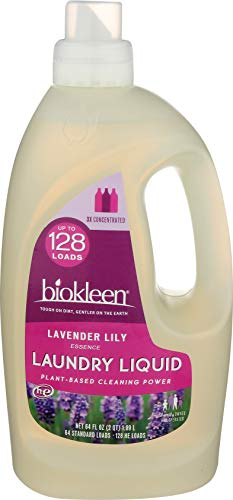 Biokleen Laundry Detergent Liquid, Concentrated, Eco-Friendly, Non-Toxic, Plant-Based, No Artificial Fragrance, Colors or Preservatives, Lavender Lily, 128 HE Loads/64 Standard Loads, 64 oz