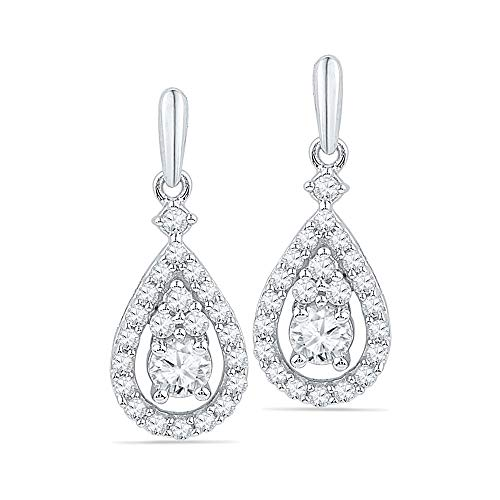 10kt White Gold Womens Round Diamond Solitaire Teardrop Frame Dangle Earrings 1/2 Cttw (Solitaire Frame Diamond)