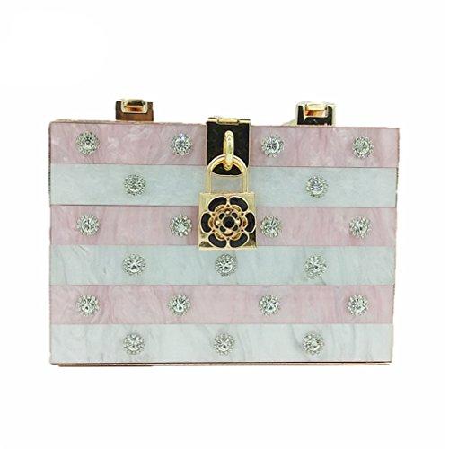 Fashion Handbag Tote Evening Box ZJ Pink Clutches Women Hardcase Party Clutch Day Bag amp;OS Metal gFFEw1A