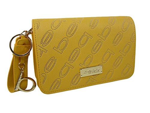 New BEBE Logo Purse Crossbody Hand Bag Wristlet or Clutch Mustard Yellow Summer ()