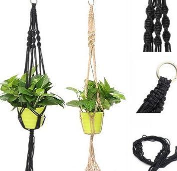 hense macram para interiores para colgar macetero cesta percha flor maceta plantas soporte perchas