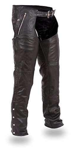 Manufacturing First 4 Snap - First Manufacturing Unisex Double Deep Pocket Thermal Chaps (Black, Large)