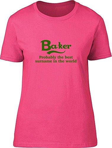 Baker probablemente la mejor apellido en el mundo Ladies T Shirt Rosa
