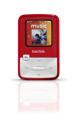 SanDisk Sansa Clip Zip 4GB MP3 Player, Red With Full-Color Display, MicroSDHC (Red Sansa View)