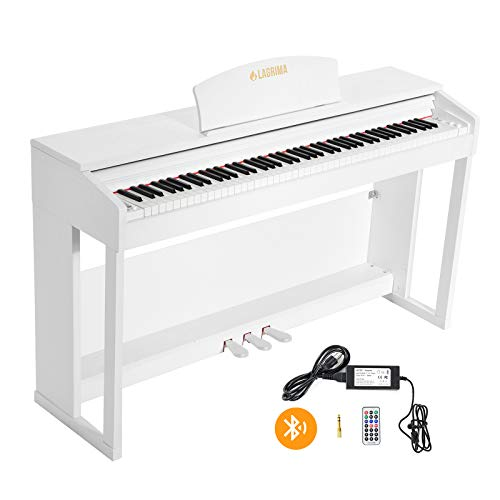LAGRIMA LG-803 88-Key Beginner Digital Piano with Full-Size Weighted Keys | Muti-functional Piano with 3 Pedals and Bluetooth | Multi-tone Selection - White