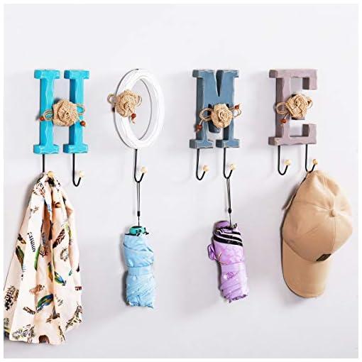 Entryway Wall Hooks, Wood Coat Hooks Wall Coat Rack Hat Hooks Robe Hook Entryway Wall Hangers Hooks for Hanging Towels, Home Key…