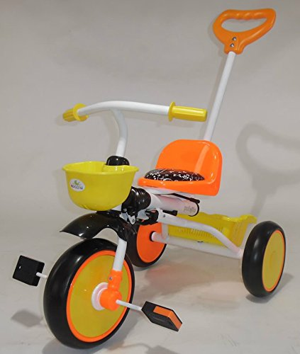 Kyootsi Pedal Trike Tricycle for Baby with Push Bar and Basket Foldable for Easy Transport Kids Childs First Trike or Use the Handle to Help Them Along RED OR ORANGE