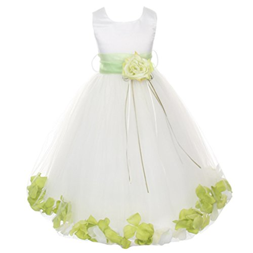 Little Girls White Sleeveless Satin Bodice Floating Flower Petals Girl Dress with Matching Organza Sash and Double Tulle Skirt - Lime Green Set - Size -