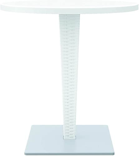 Compamia Riva 27.5 Werzalit Top Round Patio Dining Table in White, Commercial Grade