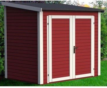 Caseta de jardín (madera maciza 4.31 metros cuadrados – 19 mm skur 4 rojo – Baltic: Amazon.es: Jardín