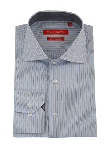 Gino Valentino Mens Striped Dress Shirt GiftBox Cotton Spread Collar Barrel Cuff (15.5