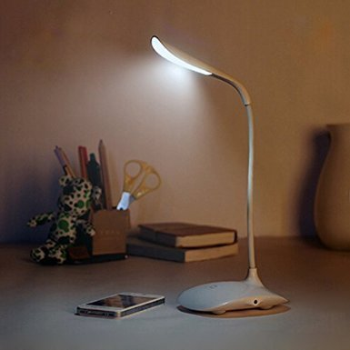 SinoPro Cordless LED Desk Lamp Reading Light with 14 Long Life LEDs Built-in 500mAh Lithium Battery 3 Brightness Level Touch Dimmer Portable Lightweight for Reading or Night Light (Base Style )