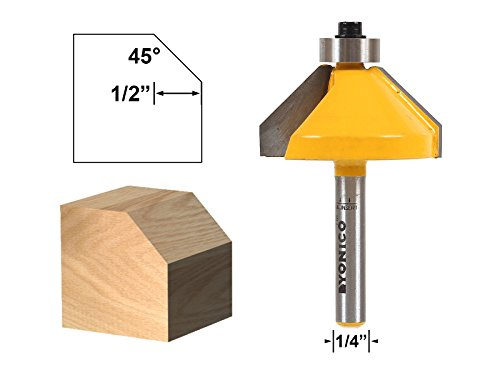 - Yonico 13106q 45-degree Chamfer Edge Forming Router Bit with 1/4