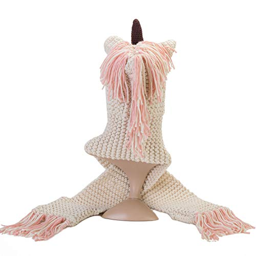 Girls Unicorn Hat Unicorn Hat for Girls Knitted Beanie Hat Scarf Gloves Winter Warm Hooded Scarf Thick Soft and Wonderfully Warm to Keep Your Girls Comfortable Best Unicorn Gifts for Girls Pink