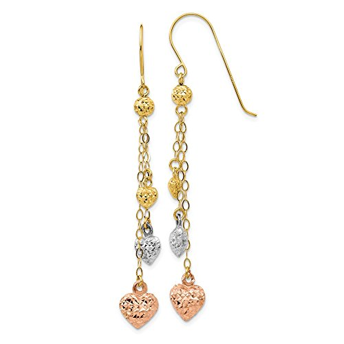 14k Tri Color Yellow White Gold Puff Heart Drop Dangle Chandelier Earrings Love Fine Jewelry Gifts For Women For Her