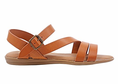 Bamboo Open-Toe Strappy Gladiator Fully Cushioned Footbed Slingback Slip-On Sandals Shoes Tan 6bdrOcC4