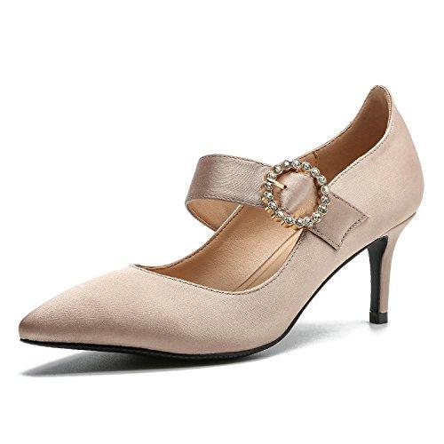 Ruanlei@Sexy de Tacones Altos/Clásicas Tacones Altos/Fashion - Cerrado Mujer/Tacones de Charol ElegantesElegante y versátil bajo Las Mujeres con Zapatos. apricot
