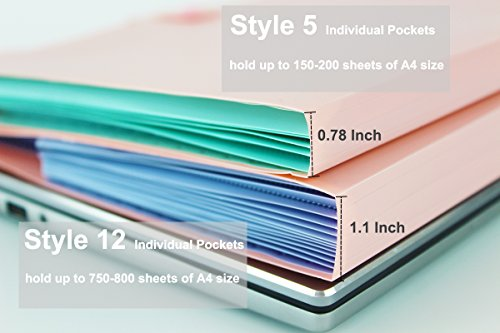 Placstic Expanding File Folders Accordion Document Organizer 12-Pocket A4 Letter Size with Snap Closure for School and Office,3-Pack by Filly Wink (Image #4)