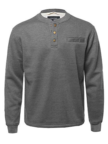 Youstar Casual Sherpa Lining Thermal Henley Long Sleeve T-Shirt Charcoal Size XL