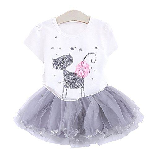 2Bunnies Girl Cat 3D Sequin Bow Sparkle Tutu Butterfly Tulle Skirt Dress Sets (3T, White) by 2Bunnies