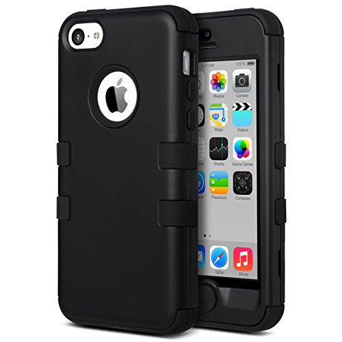 Blue Skin Silicone Solid (ULAK iPhone 5C Case, iPhone 5C Case Black, Shockproof Soft Silicone Rubber Hard Plastic Hybrid Heavy Duty Protection Kidproof High Impact Case Cover for Apple iPhone 5C -Black)