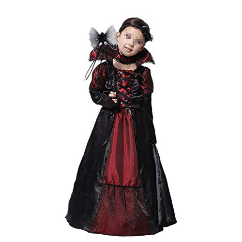 JIKF-shirt Children Princess Vampire Cosplay Costumes for Kids Halloween Long Dress Party M ()