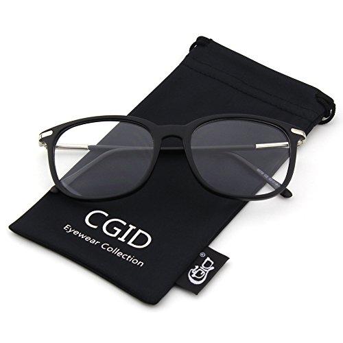 021ea3dd44e61a CGID CN79 Lunettes à verres transparents à monture décaille à branches  métalliques hautement fashion Matte Black ...