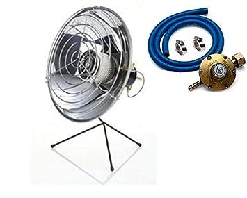 Estufa a Parábola a gas GLP con válvula de seguridad + regulador Gas + Tubo + Cintas: Amazon.es: Hogar