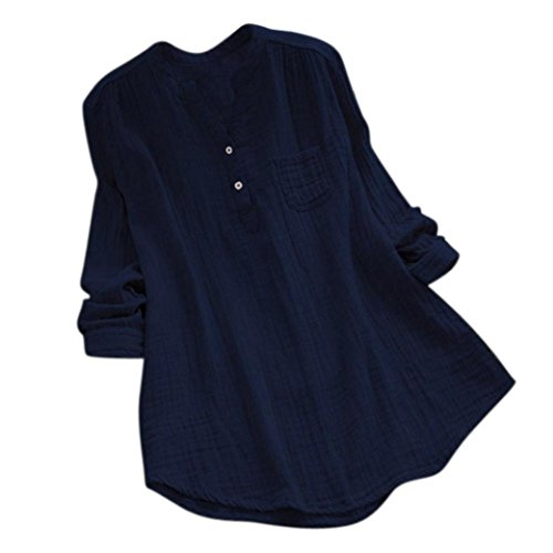 Summer Tops Shirts,Women Casual Loose T-Shirt Plus Size Long Sleeve Blouse Cotton Linen Tops Tee [On sale] (Collar-Navy, 3XL/US 18)
