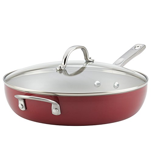 Ayesha Home Collection Porcelain Enamel Nonstick Covered Deep Skillet With Helper Handle, 12-Inch, Sienna Red