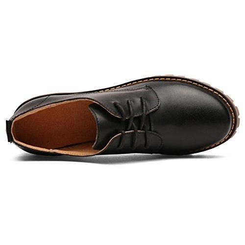 Cordones Clásico Negro Zapatos Tacones Clásicos Piel Oxfords Mujer con Luyomy con Bajos de para OPq44Ix