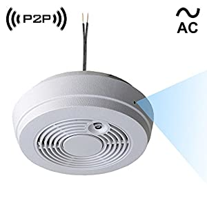 WF-402HAC: Spy Camera with WiFi Digital IP Signal, Recording & Remote Internet Access, Camera Hidden in a Residential Smoke Detector (Direct 110V ~ 220VAC Line Model)