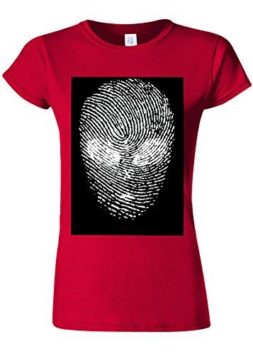 極めて重要な方言ペーストFinger Print Alien Space Galaxy Novelty Cherry Red Women T Shirt Top-M