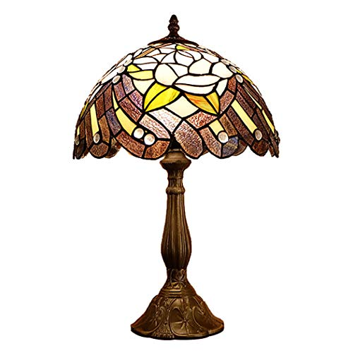 - YJFFAN Vintage Tiffany Style Peacock Tail Stained Glass Shade Table Lamp, 12