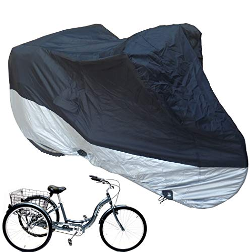 Formosa Covers Premium Adult Tricycle Cover Heavy Duty Fabric Fits Schwinn, Westport and Meridian- Protect Your Bike from Rain, Dust, Debris, and Sun When Storing Outside or Inside - in Black HW400