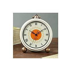 Chenjinxiang01 Alarm Clock, European Pastoral Metal Small Alarm Clock, Bedroom Desktop Silent Table Clock, Digital Bedside Vintage Clock (White) (Color : 4)