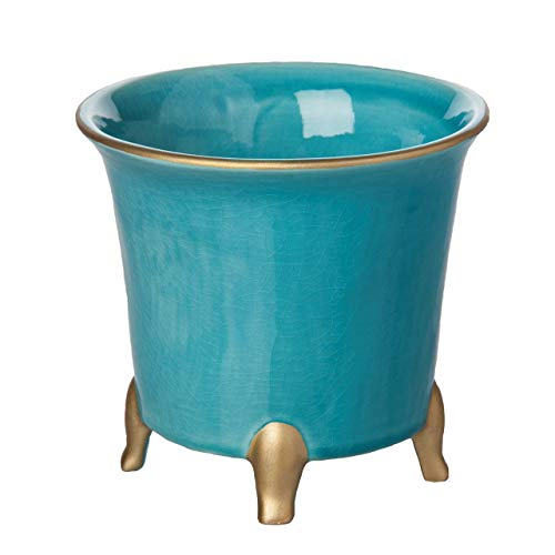 аbigаils Home Decor Round Cachepot, Large, Turquoise with Gold