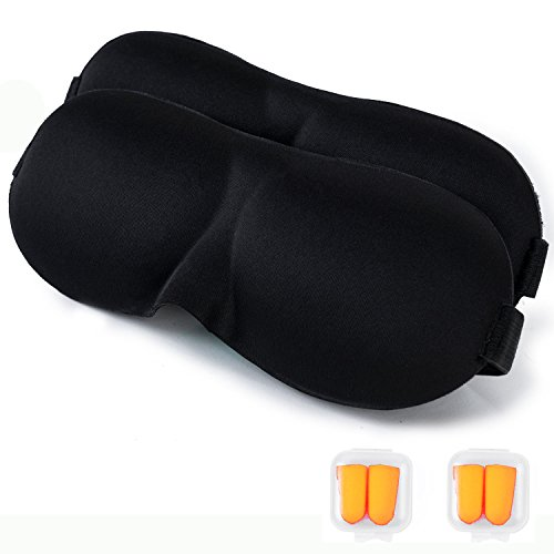 Lightweight Soft Sleep Masks - 2 Pack - EyeMasks with Premium Light Blocking Design - UNISEX - Includes 2 pair Earplugs & 2 Travel Pouches - Blackout, Sleeping Meditation - Relax More, Be Restful