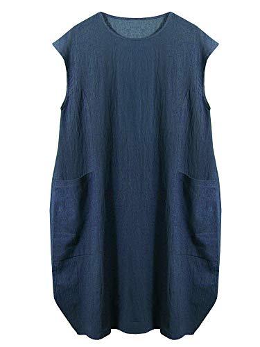 - SCOFEEL Women's Cotton Linen Tunics Summer Lagenlook Baggy Day Dress with Pockets Blue