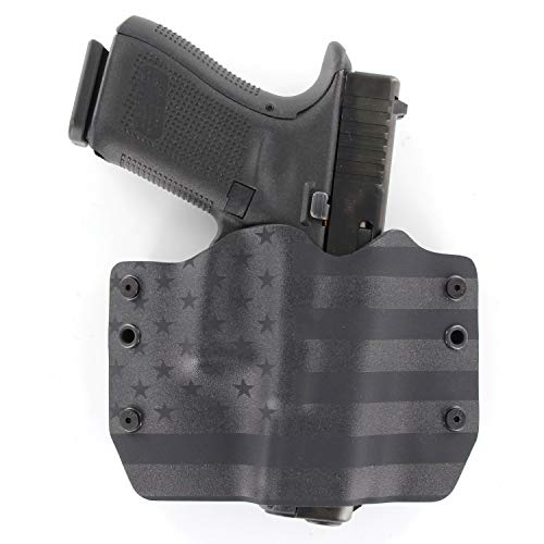 OWB Holster - USA Stealth Black (Right-Hand, Glock 17,19,22,23,25,26,27,28,31,32,34,35,41 (19X,17,19,26 Gen5) (Best Glock Small Hands)