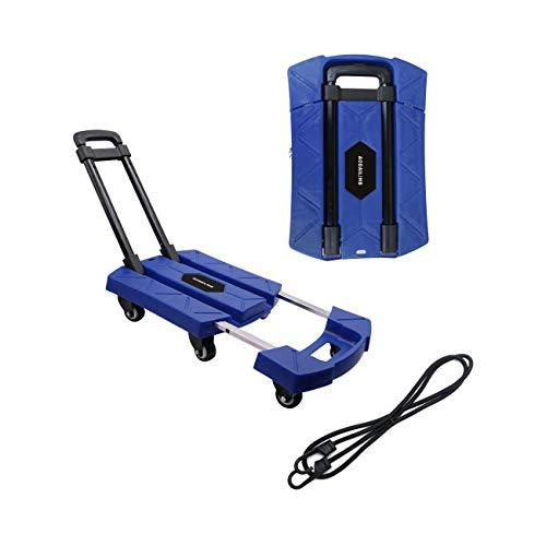 AODAILIHB Portable Folding Luggage Cart 360° Rotate Wheels Load 440 pounds (Blue) ()