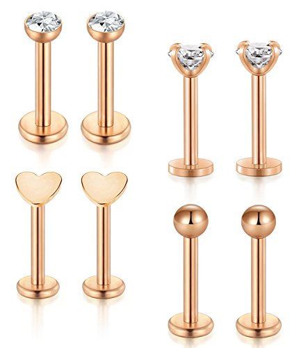 - Incaton Lip Studs Rings,16G Rose Gold Internally Surgical Steel Hypoallergenic Pin Labret Studs Piercing Jewelry