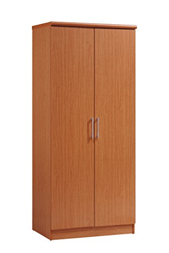 Hodedah 2 Door Wardrobe with Adjustable/Removable Shelves & Hanging Rod, Cherry