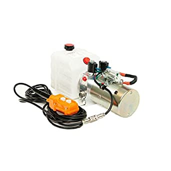280 A 3200 PSI 12VDC Dump Trailer Double Acting Pump 10 QT Metal Tank SAE #6 Ports 2.0 GPM 2.0 HP